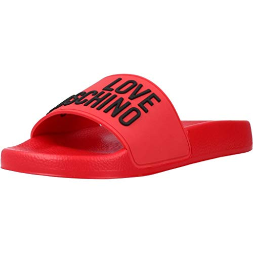 Love Moschino SS21, Sandale glissante Femme, Rouge, 35 EU