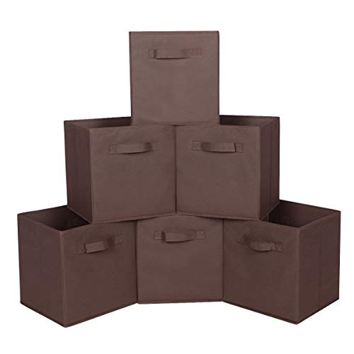 MAX Houser Storage Bins Cubes Baskets Containers with Dual Handles for Home Closet Bedroom Drawers Organizers Foldable105x105x11 Inches Set of 6 Brown