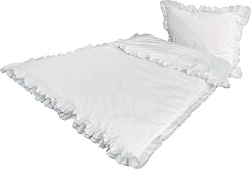 PremiumShop321 Bettwäsche Perkal Rüschen weiß mit 2 Lagen in Silber gekettelt 100% Baumwolle 135x200