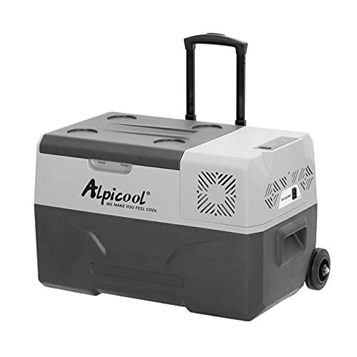 Alpicool CX30 30 Liter Kühlbox 12V tragbarer Kühlschrank elektrische Gefrierbox klein Gefrierschrank für Auto camping, Lkw, Boot und Steckdose mit USB-Anschluss/Teleskopstange/Rad