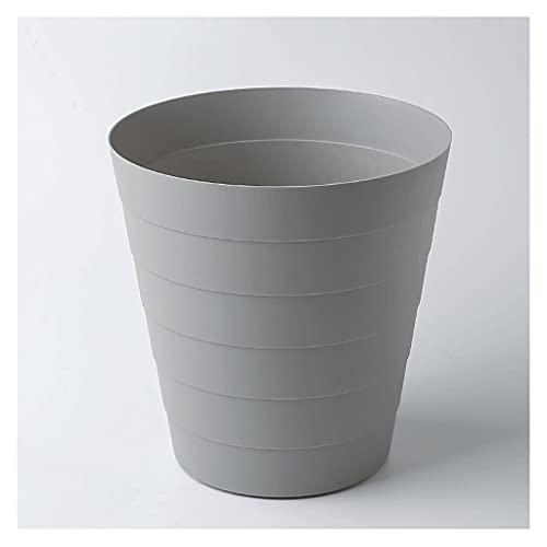 Cubo de la Basura Papelera de reciclaje de papel de basura de basura de plástico redondo adecuado para dormitorio en casa dormitorio universidad blanca Bote de Basura ( Color : Gray , Size : Small )