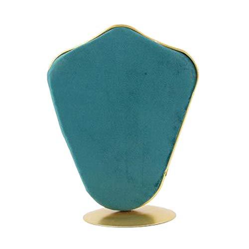 Sharplace Collar de exhibición de Cadena de joyería de Terciopelo Soporte de Busto para la organización del hogar, Base de Metal Estable - Verde