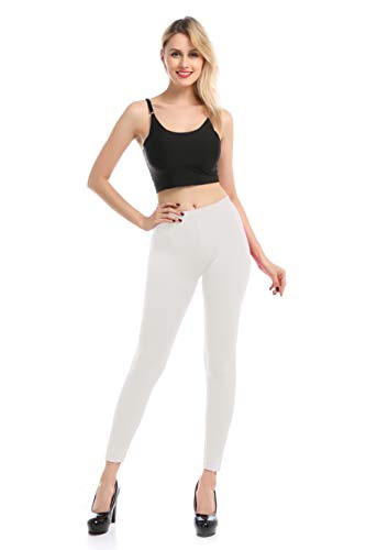 Leggings Malla Elástica de Tiro Alto/Pantalones Largos Deportiva Danza Running Fitness para Mujer (Blanca, S-M)
