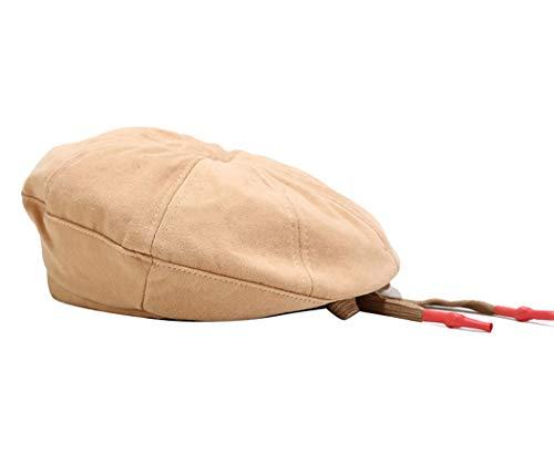 Quanhaigou Women's Cotton Newsboy Hat Classic Girls Cabbie Leisure Painter Hats Gatsby Berets Cap Khaki