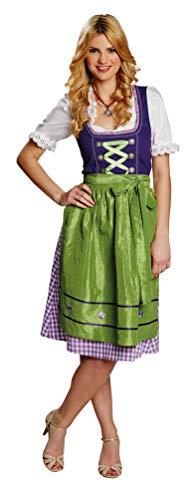 Karneval-Klamotten Dirndl Kostüm Damen Kostüme Dirndl lang lila grün weiß für Damen Größe 40