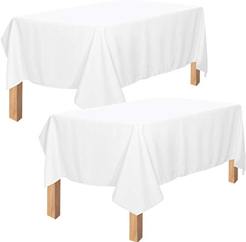 Utopia Kitchen Polyester Tablecloth – 60 x 102 Inches Table Cover - Machine Washable - Great for Parties, Events, Wedding and Restaurants (Pack of 2, White)