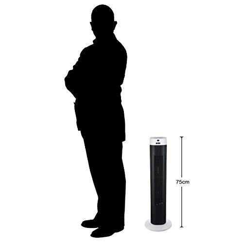 Oszillierender Turmventilator mit Fernsteuerung Säulenventilator 3-stufigem Windmodus mit 3 Drehzahlen und langem Kabel(1,75m). 30 Zoll Schwarz-weiß (Batterien NICHT im enthalten) 2 Jahre Garantie Bild 2*