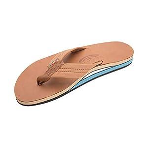 Rainbow Sandals Men's Premier Leather Double Layer with Arch Wide Strap, Classic Tan/Blue, Men's Medium / 8.5-9.5 D(M) US