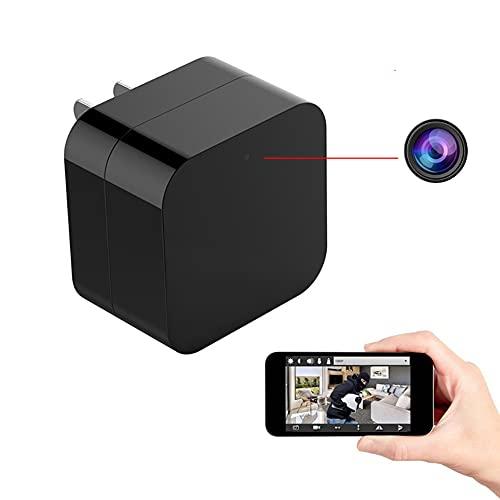 GEQWE Adaptador De Cargador De Pared para Cámara Espía, 1080P HD Spy Power, Cámara Oculta con Cargador De Pared USB WiFi, con Detección De Movimiento Visión Nocturna