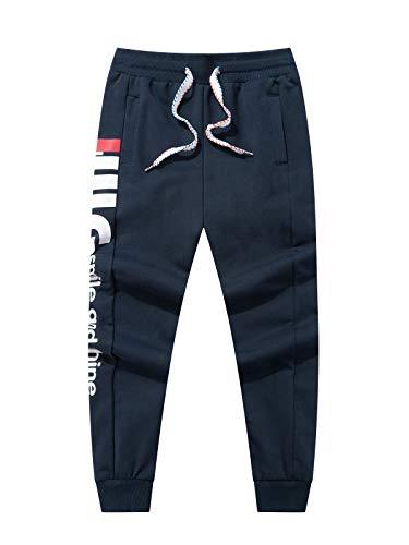 LAUSONS Pantaloni Sportivi Bambino - Pantaloni Tuta con Tasca - Pantaloni da Jogging Cotone Ragazzi, Blu Scuro, Taglia 140/8-9 Anni
