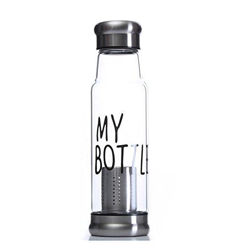NYKKOLA Élégante bouteille d'eau en verre borosilicate écologique de qualité supérieure avec manchon isotherme chaud et froid.