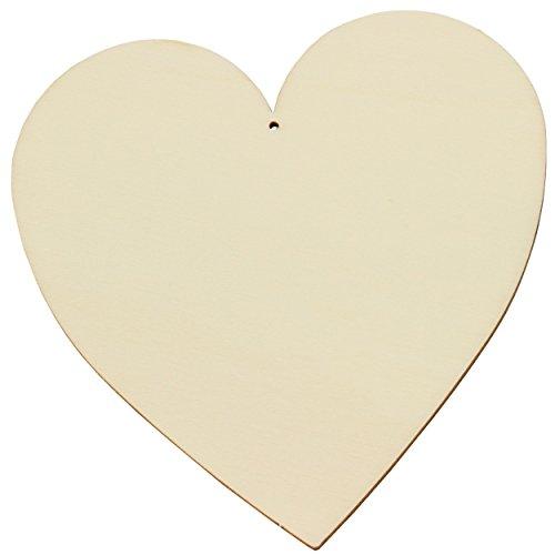 trendmarkt24 Holz-Herzen-Set 3 Stück ca. 15 cm Groß Deko-Herz-Hänger Sperrholz Hochzeits-Herz Valentinstag-Herzen Deko-Herz-en Blumen-Deko | basteln, bemalen, gravieren Hochzeit 226151