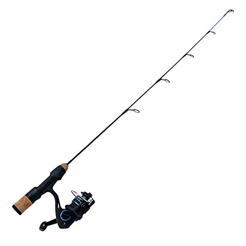 Quantum Glacier XT Spinning Reel and Ice Fishing Rod Combo, Solid Carbon Rod with Cork Handle, 5-Ball Bearing Lightweight Graphite Ice Fishing Reel with Aluminum Spool