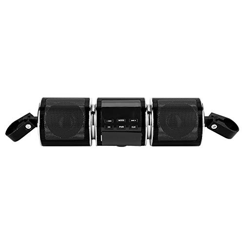 Estéreo para motocicleta, reproductor de música USB, altavoz para motocicleta, amplificador impermeable para el hogar, cualquier manillar de motocicleta(black)