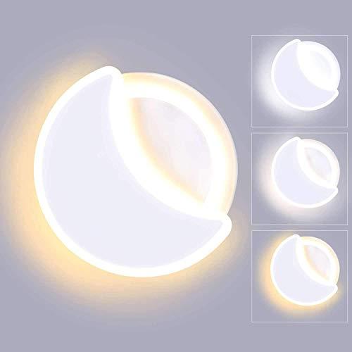 Lámpara De Pared LED para Interiores De 15 W, Temperatura De 3 Colores Ajustable, Lámpara De Pared Acrílica con Forma De Luna, Aplique De Pared para Sala De Estar, Dormitorio, Escalera,White