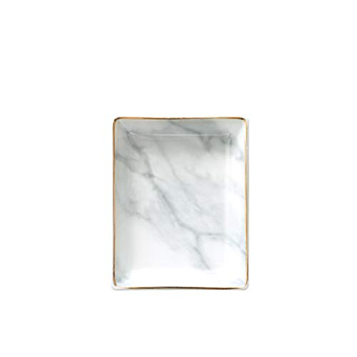 Golden Striped Marble Plate - Marble Ceramic Jewelry Tray, Ring Holder, Bracelets Plate, Dessert Dish - Perfect for Holding Small Jewelries, Rings, Necklaces, Earrings, Bracelets, Cosmetics, etc.
