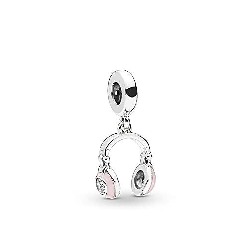 LIIHVYI Pandora Damen Charms 925 Sterling Silber Rosa Kopfhörer Zum Aufhängen Aus Metall Für Pandora Und Andere Europäische Armbänder & Halsketten