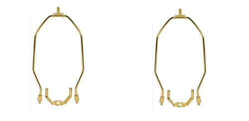 6 Inch Lamp Harp Fitter For Lamp Shades Polished Brass (2-Pack)