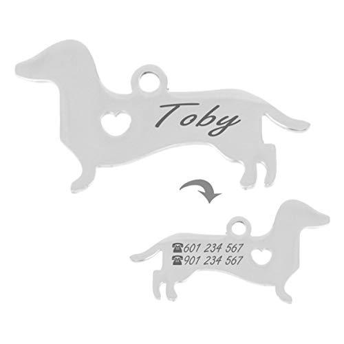 Iberiagifts - Placa identificación de Acero Inoxidable en Forma de Dackel. para Mascotas pequeñas a Medianas. Chapa Medalla de identificación Personalizada Collar Perro Gato grabada