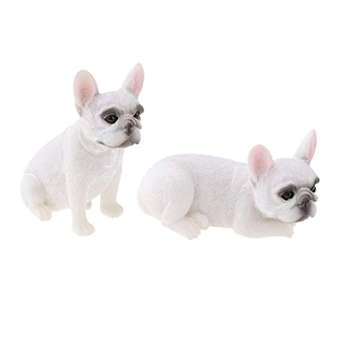 joyMerit 2 Pieces White Resin French Bulldog Model Statue French Bulldog Toy Figurine