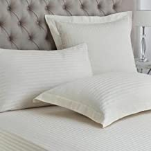 "Linenwalas 100% Cotton Satin Stripes Pillow Cover Set of 2-(17""X27"")- Ivory"