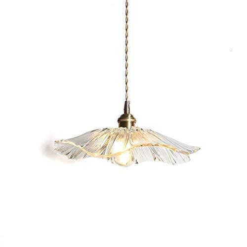 no-branded ZHQHYQHHX - Lámpara de techo colgante de cristal para hotel, casa, café, bar (cuerpo color: transparente, emisión de color: blanco cálido)