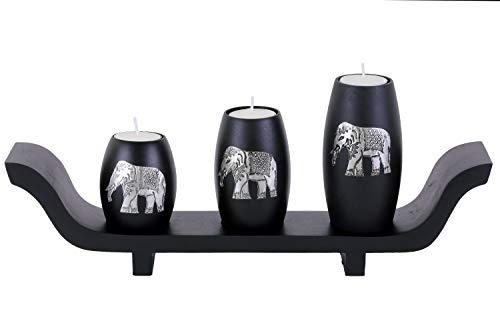 Tea Light Candle Holders Set of 3 with Elephant Aluminium