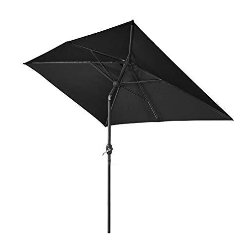 Greenbay 2x3m Patio Outdoor Umbrella Wind up Garden Parasol Sun Shade Aluminium Crank Tilt Mechanism (Black)