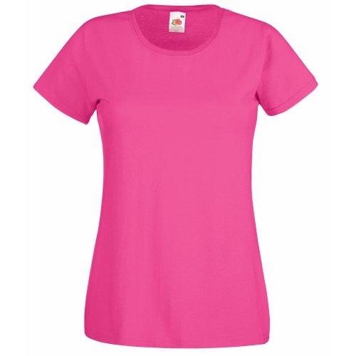 Camiseta de Fruit of the Loom para mujer, ajustada, de distintos colores, de algodón, manga corta Rosa fucsia Small