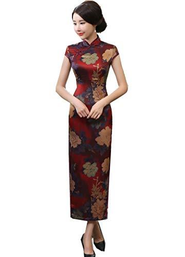 Mujer Vestidos Ropa Tradicional China Vestidos Estilo Chino Long Cheongsam Manga Corta Qipao Floral para Mujer