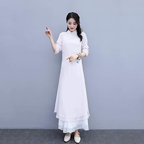 JTKDL Zen Kleding Vrouwen Chinese Stijl Verbeterde Han Kleding Cheongsam Jurk Chinese Retro 3-delige pak