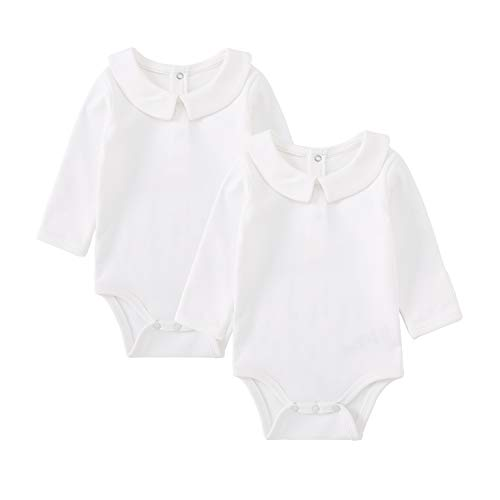 pureborn 2-Pack Unisex Baby Bodysuit Solid Baptism Long Sleeve Onesies White 3-6 Months