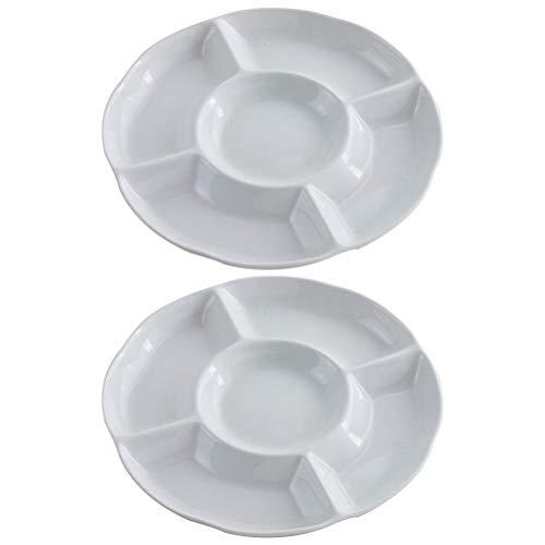 BESTONZON Dip/Snack Schalen, 5-Fach unterteiltem Melamine Menüteller/Antipasti-Teller, Appetizer Tray, Sharing Platte für frische Snacks -2 stücke