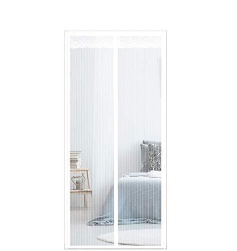 FENG Mosquitera magnética, 85 x 210 cm, protección contra insectos, puerta, plegable, cierre de coche, sin agujeros, para puerta de balcón, puerta de terraza, puerta de sótano, color blanco