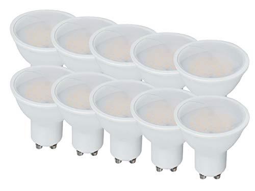 LEDLUX 10 Stück LED-Lampen Scheinwerfer GU10 10W 1000 Lumen 110 ° Opal Diffusor 5 Jahre Garantie GU10 Brighter 3 Farben erhältlich (4000K)