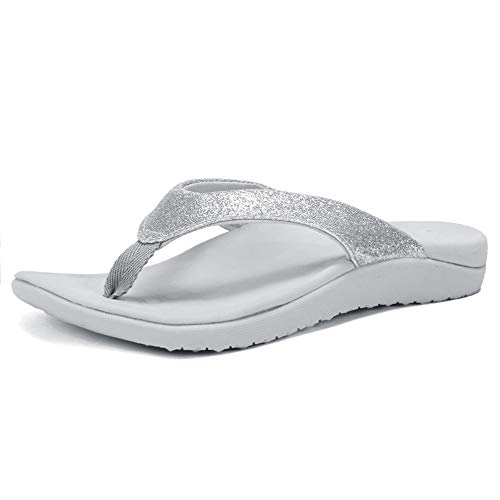 FANTURE Women Orthotic Arch Support Sandal for Comfortable Walk Thong Style Casual Flip Flops U419SLT003-N-Crystal Silver-40