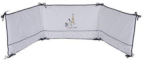 P'tit Basile - Tour de lit bébé Coton Bio adaptable aux lits 60x120 cm ou 70x140 cm - 40-180 cm - Protège la tête de bébé - Collection mixte Little Paris Blanc