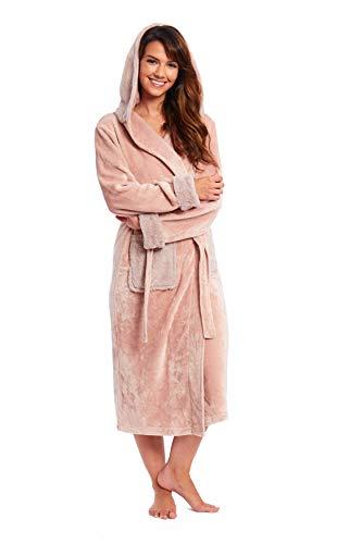 CityComfort Bademantel Damen, Morgenmantel, Saunamantel für Spa, Kimono, Bademantel Damen Frottee, Pink Robe, Kuschelfleece mit Kapuze und Taschen, Dunkelrosa, XL (Herstellergröße: 20/22)