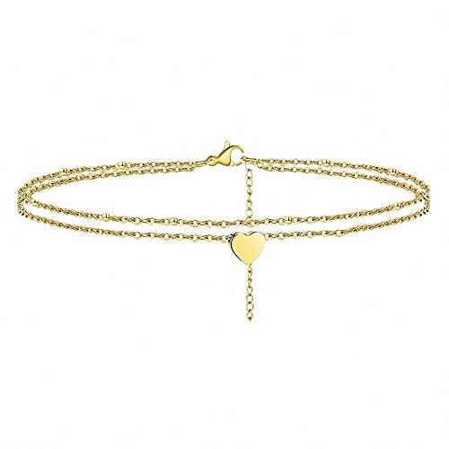 Fußkettchen Damen mit Herz Anhänger Boho Strand Schmuck Sommer doppelte kette Fußbändchen Edelstahl Fußkette silber gold (gold)