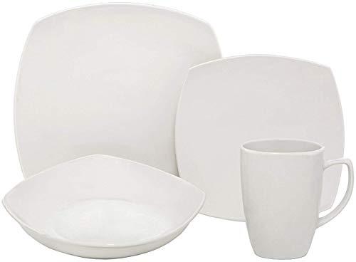 Melange 16-Piece Square Porcelain Dinnerware Set (White) | Service for 4 | Microwave, Dishwasher & Oven Safe | Dinner Plate, Salad Plate, Soup Bowl & Mug (16 Each)