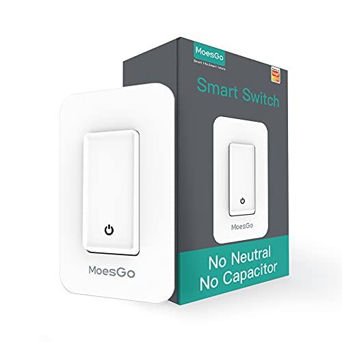 MoesGo WiFi Smart Single Fire Light Switch,No Neutral Wire Need, Smart Life App/Tuya App Remote Control,Work with Alexa and Google Home Assistant No Capacitor Required