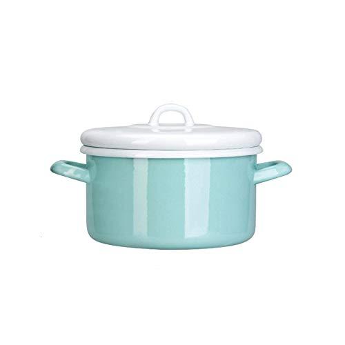 WJHCDDA Olla de Cocina para cazuela, biauricular con Tapa, vajilla, Olla para Sopa con Revestimiento de Esmalte Resistente, Adecuada para Estufa de Gas, Cocina de inducción, para Uso doméstico