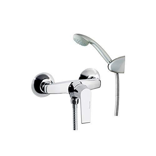 Ramon Soler 60D301076 Cártago - Grifo de bañera con teleducha de 1 función ABS anti-cal, acabado cromado Diamond Finish, ahorro de agua S2 del 50%, limitador en temperatura y anticorrosión patentado