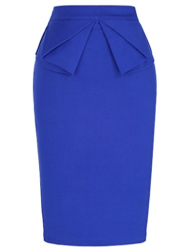 GRACE KARIN Women's Printed Solid Cotton Mini Pencil Skirt with Elastic Waist Blue M