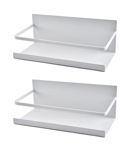 Luchs – 2er Set Magnetisches Regal für Kühlschrank aus Edelstahl, Hängeregal, Küchenregal, Gewürzregal, Kühlschrank Regal, Organizer mit Haken (Weiss)