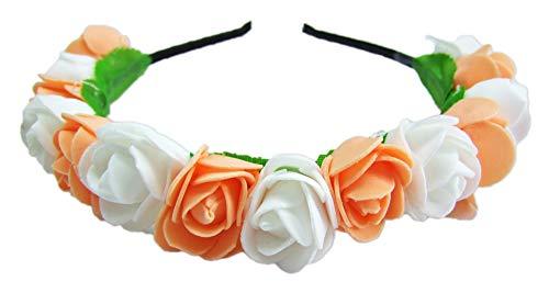 Das Kostümland Blumen Haarreif mit Rosen Apricot Weiß - Haarschmuck zum Dirndl, für Hochzeiten und Kommunion Haarschmuck