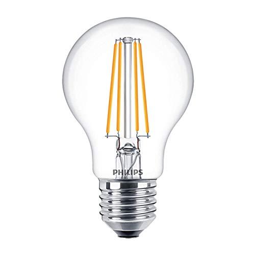Philips 929001331202 LED-Lampe, 8 W, klar, dimmbar, E27, ES, großer Edisonsockel, 2700 K, Warmweiß, 806 Lumen, 15000 Stunden