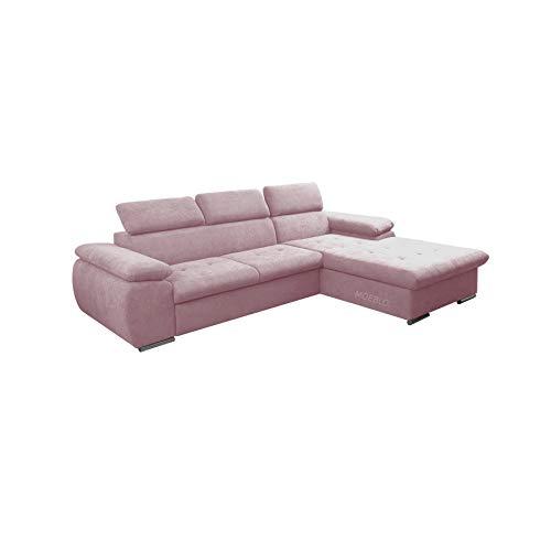 Canapé d'angle Rose Tissu Moderne Confort
