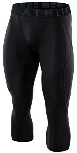 ATHLIO Men's (Pack of 1) Compression 3/4 Capri Pants Baselayer Cool Dry Sports Running Tights, Single Pack(bcp18) - Black, Medium