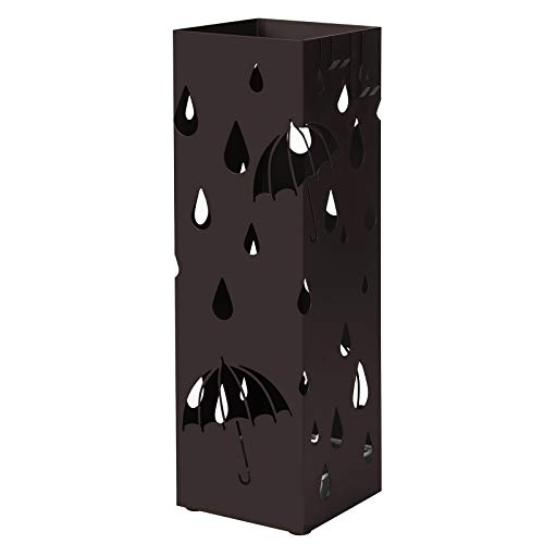 SONGMICS Metal Umbrella Stand, Square Umbrella Holder with Water Tray and Hooks, 6.1 x 6.1 x 19.3 Inches, Brown ULUC49Z